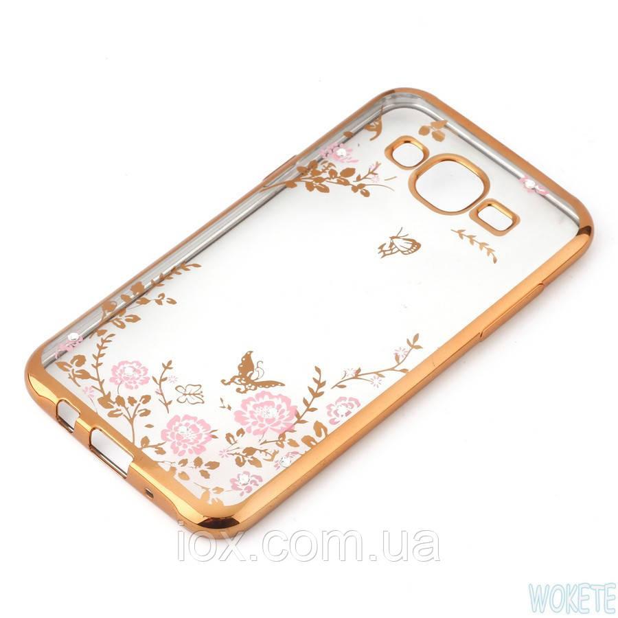 Золотистый силиконовый чехол с цветочными узорами и камушками Swarovski для Samsung Galaxy J7 2015