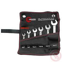 Набор рожковых ключей 6 шт. 6-17 мм Cr-V, покрытие сатин-хром; PROF DIN3113
