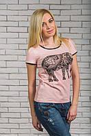 Женская  футболка с печатью Слон персик