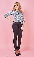 Женские лосины с кожаными карманами №1609 (черные)