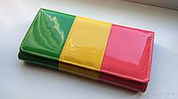Лакированный женский кошелек, клатч. Трехцветный