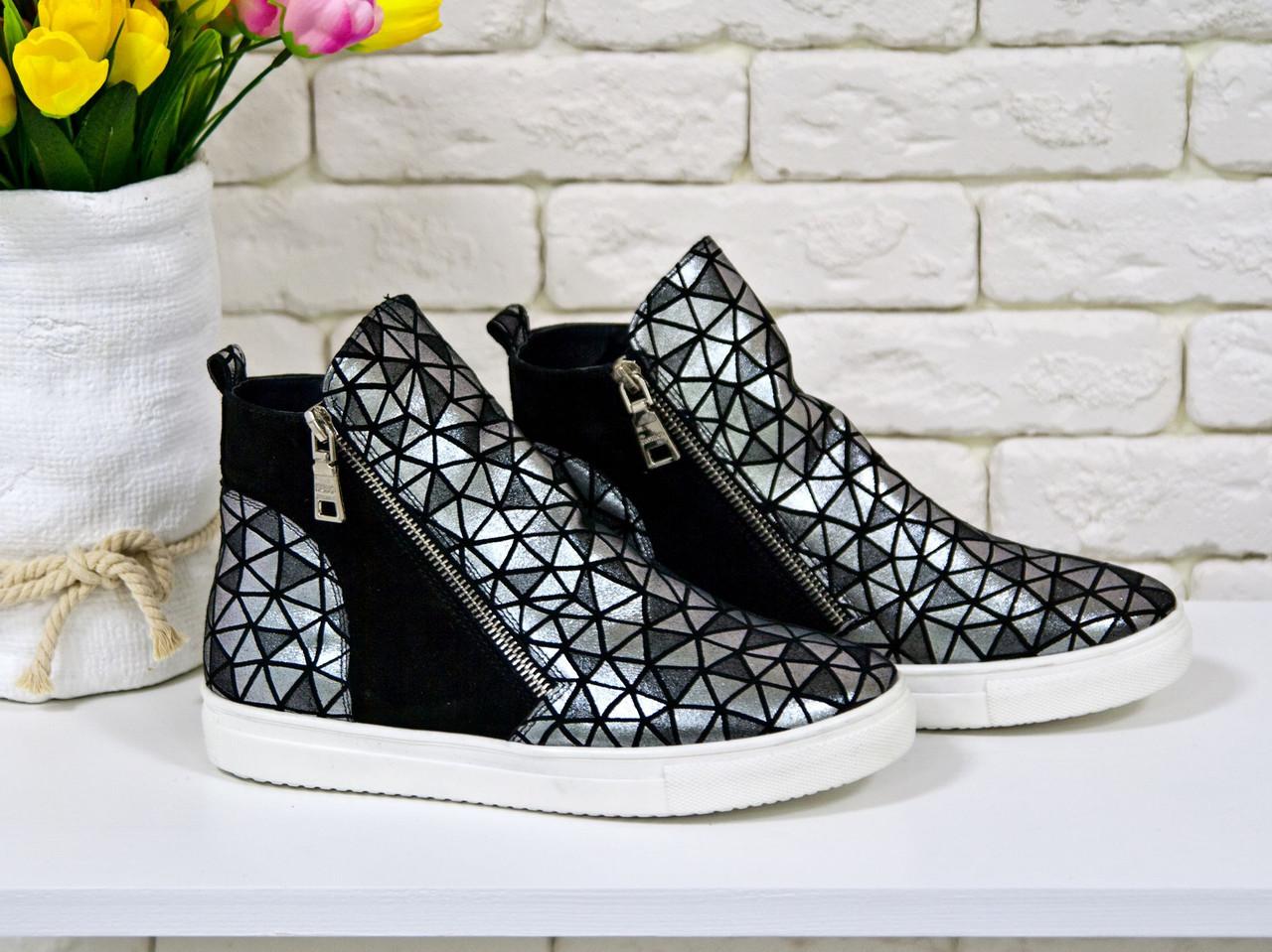 Женские ботинки-хайтопы из натуральной кожи тончайшей выделки черного цвета с серебряным отливом 36-41р