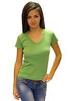 Мятная зеленая футболка женская летняя с коротким рукавом однотонная с вырезом хлопок трикотажная (Украина)