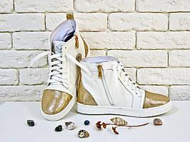 Высокие кеды на шнуровке из натуральной кожи белого и золотого цвета, Коллекция Весна-Лето 2017