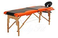 Стол массажный деревянный 2-х сегментный Body Fit (черный - оранжевый)