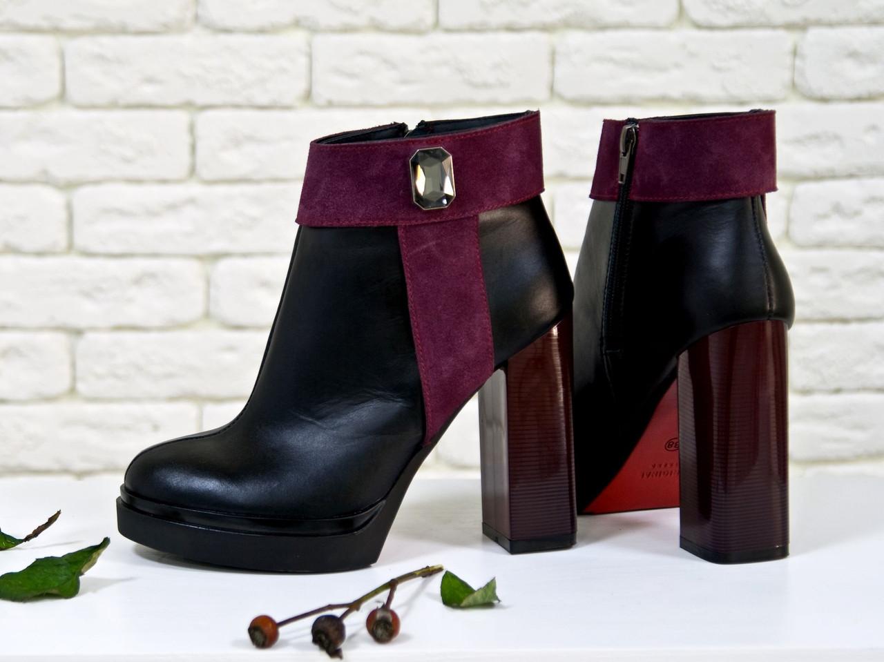 Ботинки женские на высоком каблуке из  кожи и замши в комбинации из черного и бордового цвета 36-40р
