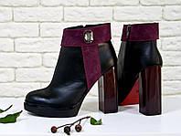 Ботинки женские на высоком каблуке из  кожи и замши в комбинации из черного и бордового цвета 36-40р, фото 1