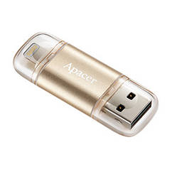 Флешка Apacer AH190 Lightning Dual USB 3.1 128GB Gold