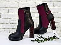 Ботинки в черной коже и бордовой замше с отделкой в виде замшевого ремешка с застежкой, на высоком и устойчивом каблуке, Б-1710 Новинка!г.