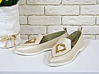 """Кожаные туфли  цвета """"пудра"""" на плоской подошве - Новинка!NEW 847-1707"""