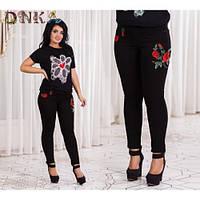 Джинсы женские черные Вышивка норма,женская одежда