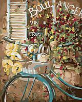 Картина раскраска по номерам без коробки Идейка Французский велосипед (KHO2045) 40 х 50 см