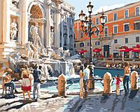 Картина раскраска по номерам без коробки Идейка Рим Фонтан Треви Худ Ричард Макнейл (KHO2152) 40 х 50 см (Без