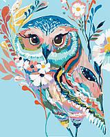 Холст по номерам без коробки Идейка Очаровательная сова (KHO2471) 40 х 50 см
