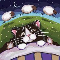 Картина раскраска по номерам без коробки Идейка Сладкие сны (KHO2476) 40 х 40 см