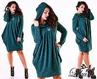Модное зеленое  ангоровое платье батал с капюшоном. Арт-2097/21