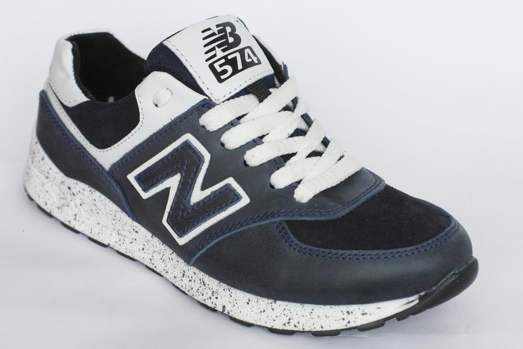 Подростковые  кроссовки  синие с белыми шнурками  из кожи