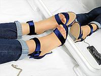Женские классические синие босоножки с ремешком на пряжке