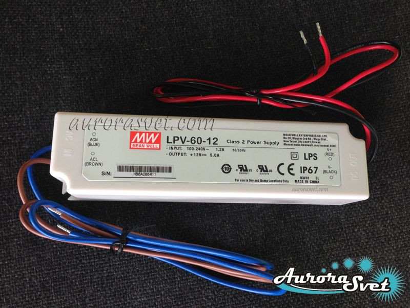 Mean Well LPV-60-12. Драйвер светодиодов. LED драйвер. Светодиодный драйвер.