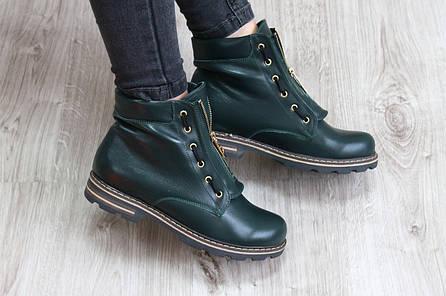 Весенние зеленые кожаные  ботинки в стиле Balmain