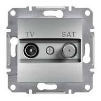 Розетка телевизионная + спутник проходная Schneider Electric Asfora 8 dB Алюминий