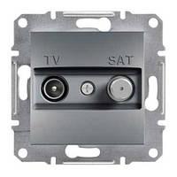 Розетка телевизионная + спутник проходная Schneider Electric Asfora 8 dB Сталь