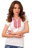 Белая футболка женская вышиванка летняя с коротким рукавом трикотажная хб (Украина)