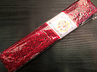 Кружево капроновое органза,цвет бордо, 9м в рулоне