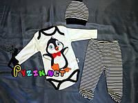 """Комплект для новорожденного """"Пингвинчик"""" (бодик+ползунки+шапочка) 62, 68 р-р"""