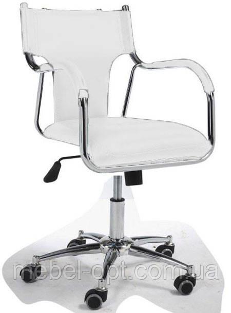 Офисное кресло Берлин белое на колесах, 56х55х86, высота сидения 42 - 50см, Бесплатная доставка Деливери