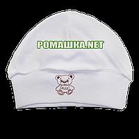 Детская трикотажная шапочка р. 40 для новорожденного отлично тянется ТМ Алекс 3423 Бежевый