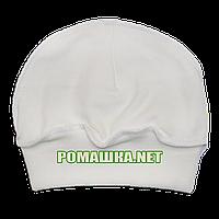 Детская трикотажная шапочка р. 36 для новорожденного швы наружу отлично тянется ТМ Алекс 3424 Бежевый