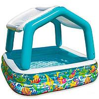"""Детский надувной бассейн Intex 57470 """"Аквариум"""" со съемным навесом"""