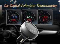 Зарядка USB 3в1 тестер/вольтметр/термометр в прикуриватель авто