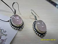 Серьги с кварцем. Серьги с натуральным камнем розовый кварц в серебре. Индия!