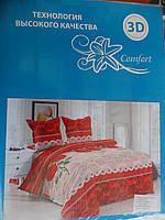 """Двухспальный набор постельного белья """"3D Comfort"""", 200х230, цветочный рисунок, красные расцветки"""