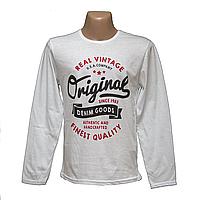 Мужские белые футболки с длинным рукавом  7901-4