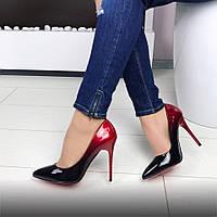 Туфли лодочки женские омбре на красной подошве 40р