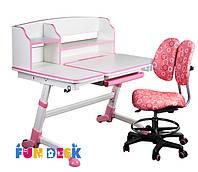 Подростковая парта для девочки FunDesk Amare II Pink + Детский стул SST6 Pink