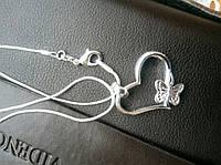 """Модная подвеска украшение """"Сердце с бабочкой"""", металл посеребренный (silver plated) 925 проба"""