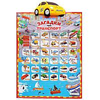 Плакат обучающий F4-13 Загадки про транспорт