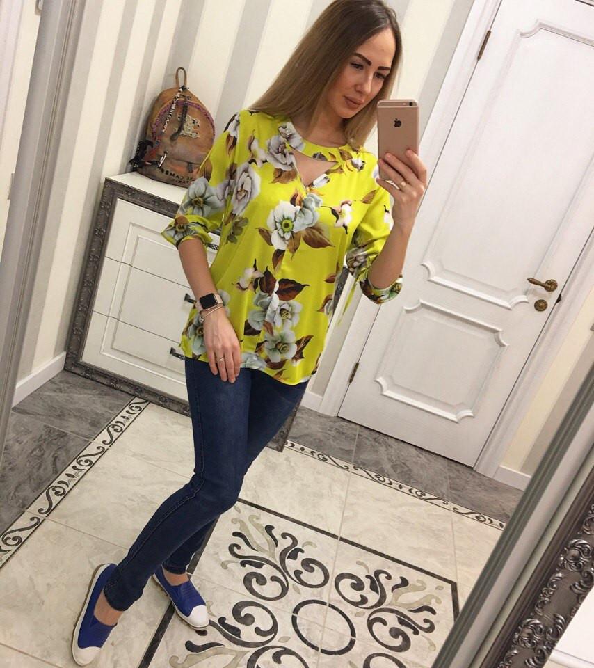 Желтая атласная женская блузка