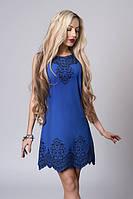 Красивое летнее синее платье без рукава