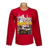 Мужские красные футболки с длинным рукавом большие размеры 7907-6