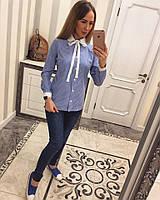 Женская рубашка в клеточку Синий, М