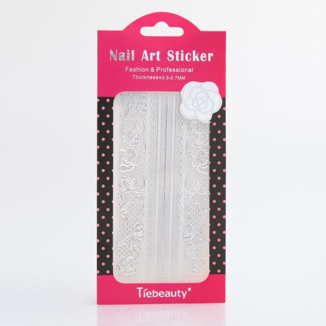 Кружево для дизайна ногтей, серебро