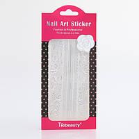 Кружево для дизайна ногтей, серебро, фото 1