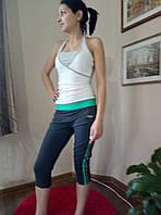 Костюм спортивный с майкой и бриджами. серо-розовый, L
