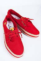 Кеды мужские с плетеной подошвой №164F001 (Красный)