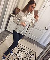 """Белая женская рубашка """"Котики"""""""